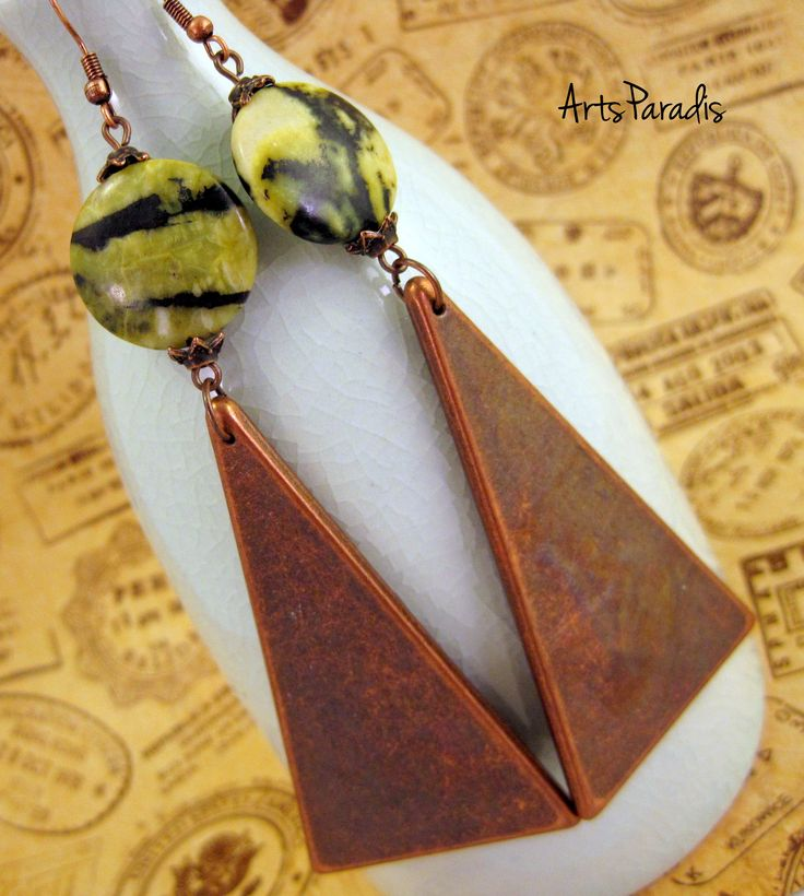 Large Yellow Green Jasper and Vintage Copper Triangle Earrings by ArtsParadis