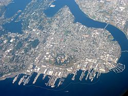 Bremerton, Washington, USA. Aerial view of the city with Puget Sound Naval Shipyard at the bottom