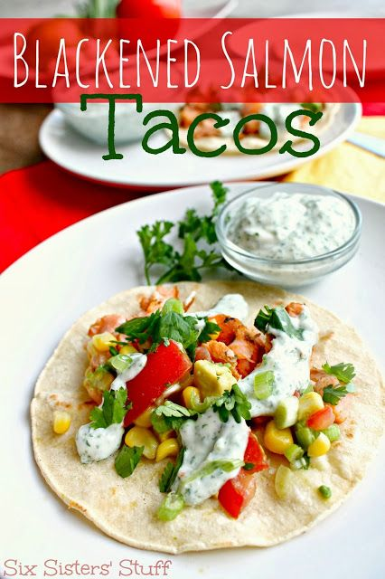 Delicious Blackened Salmon Tacos from Sixsistersstuff.com. If you love Salmon, you are going to LOVE these! #tacos #salmon #fish #healthymeal