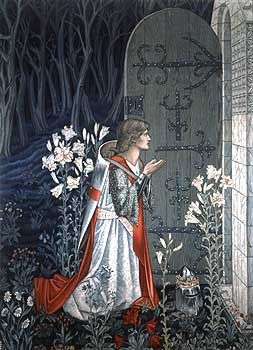 The Achievement of the Grail, detail of  No.6 of the Holy Grail tapestries woven by Morris  Co. 1891-94