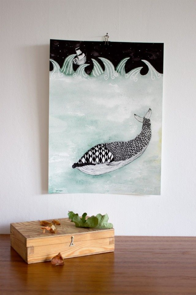 Whale, an amazing illustration by Yrva! #nordicdesigncollective #yrva #whale #poster #print #ocean #sea #fish #pattern #illustration #forkids #kidsroom #childrensroom #room #interiordesign #art #wallart #ship #boat #waves #stars #sky #blue #dark #evening #night #storm