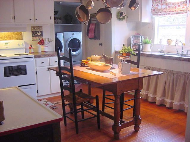 Farmhouse Kitchen With Cabinet Curtain