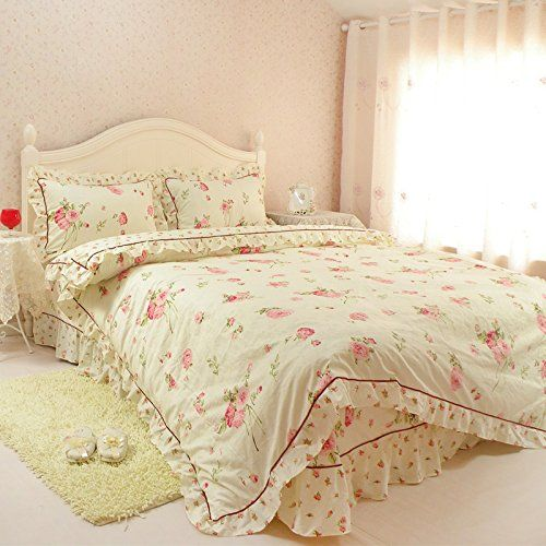 LELVA Rose Floral Print Duvet Cover Set Girls Bedding Set 100%Cotton Lace Ruffle Bedding Twin Full Queen (Twin, 1) //Price: $48 & FREE Shipping //     #bedding