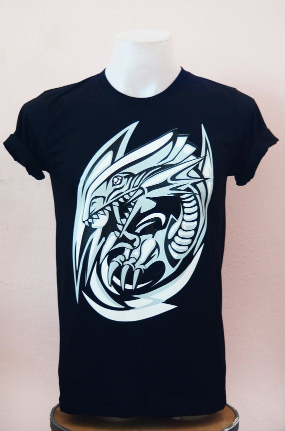 Cartoon T-shirt Blue Eye White Dragon