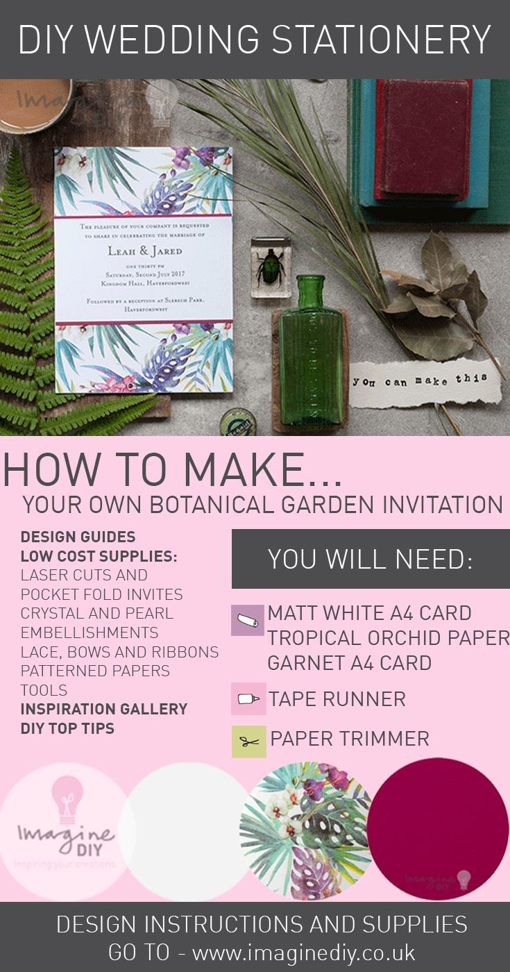 269 best how to make diy wedding stationery images on pinterest how to make diy botanical garden wedding invitation diy wedding stationery supplies and instructions from junglespirit Images