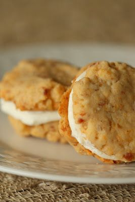 Bacon Chedder Whoopie Pies with Ricotta Cream Cheese Filling