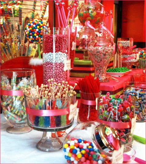 many cute candy displays...notice the faux ice cream cones and gumball topiary!