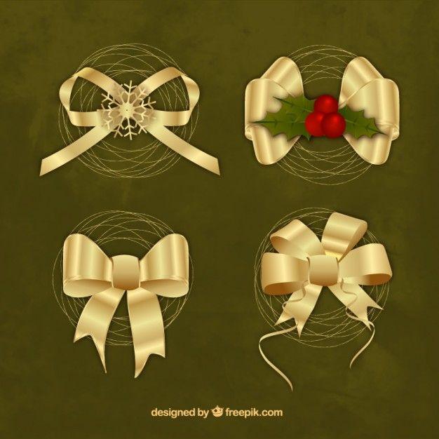 Free vector Golden christmas ribbons #33880
