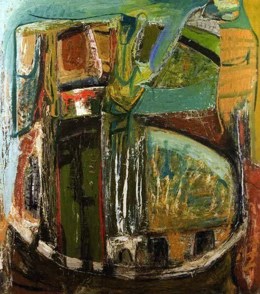 Peter Lanyon 1918-1964 Saracinesco 1953 Oil on board 50x48 Plymouth City Museum and Art Gallery