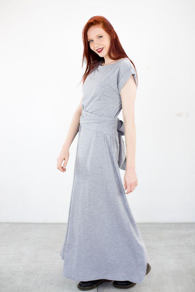 Maxi Dress Big Bow Heather Gray