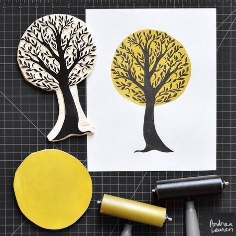 Carving and printing this tree in two colors this afternoon!  Looking forward to the holiday break tomorrow!