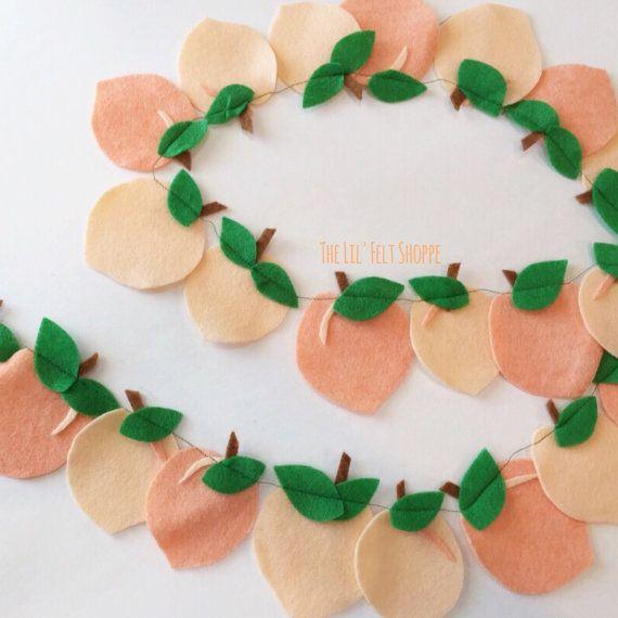 Peach Banner Peach Garland Peach Peaches Felt by TheLilFeltShoppe