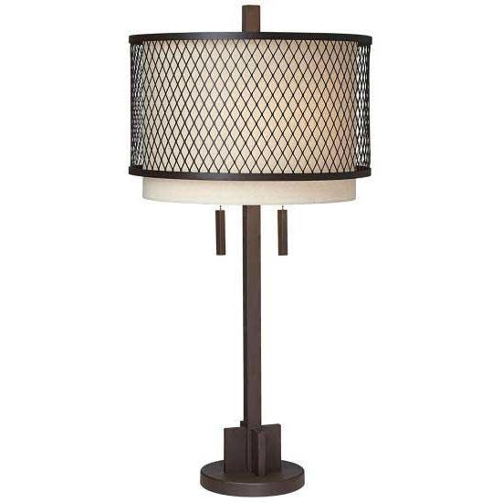 Table lamp in aged beige with a drum shade and mesh overlay product table lampconstruction material metal and fabriccolor beige and bronzeaccommodates