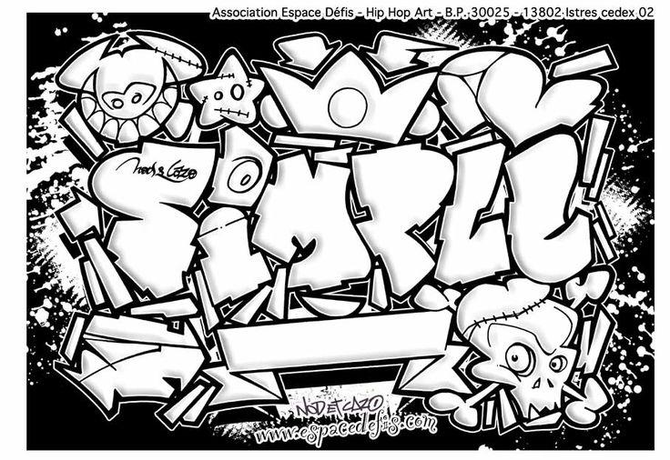 Dessin graffiti à imprimer et à colorier : espace défis, hip hop ...  … Continue reading →
