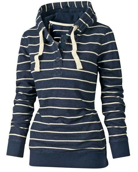 "Cute ""Stylish Hooded Long Sleeve Drawstring Striped Women's Hoodie"" from Rosegal."