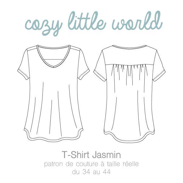 Patron de couture à taille réelle Fichier PDF à imprimer sans mise à l'échelle Du 34 au 44 (FR) Langue : Français Jasmin est un…