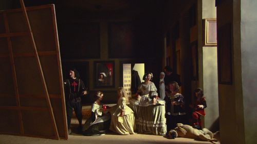 Eve Sussman recreated Velázquez's Las Meninas in a twelve-minute video in 2004 called 89 Seconds at Alcazar. Here is a still from Sussman's video, which was part of the 2004 Whitney Biennial and was also part of the inaugural exhibition of the MoMA's new dedicated video gallery when the museum reopened in 2004.