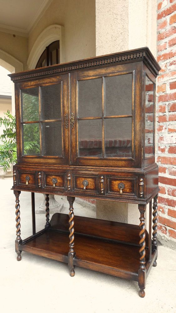 Petite antique english carved oak china display cabinet for Adams cabinets perth