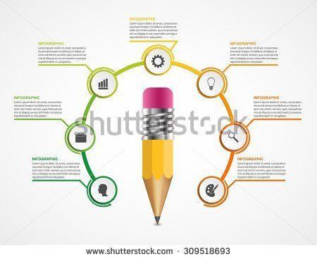 Education pencil option Infographics design template. - stock vector