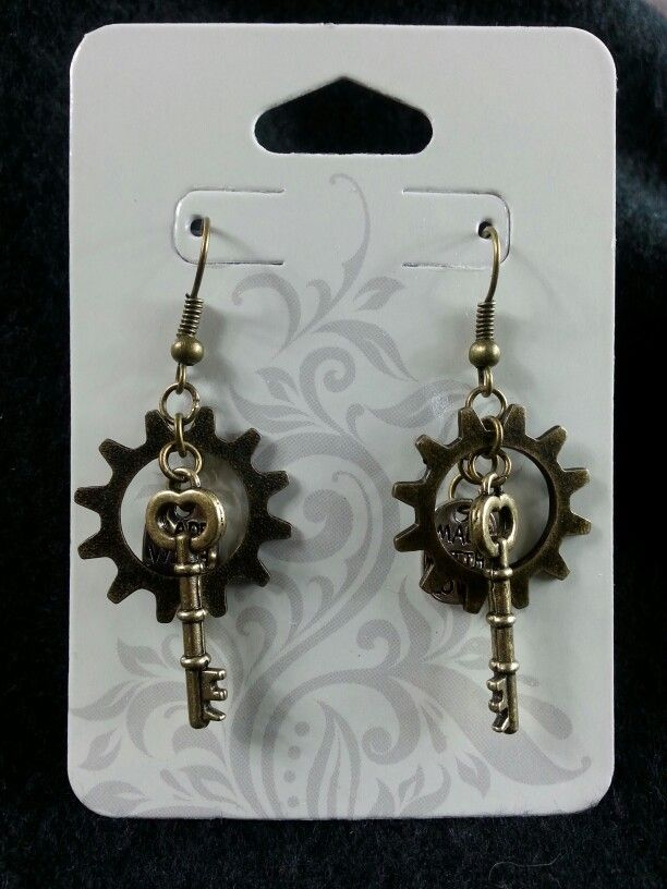 Made with love gear & key earrings (bronze)