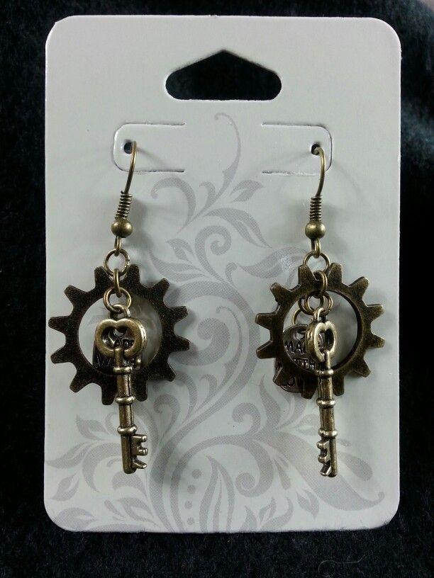 Made with love gear & key earrings (bronze)