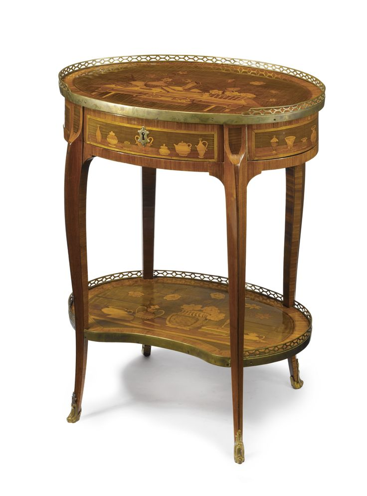a louis xvi tulipwood fruitwood and marquetry table. Black Bedroom Furniture Sets. Home Design Ideas
