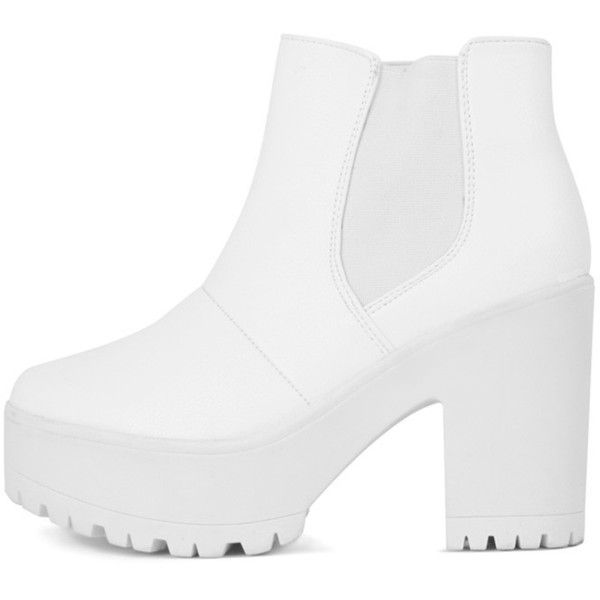 Evie White Leather Chunky Chelsea Boot (155 BRL) ❤ liked on Polyvore featuring shoes, boots, ankle booties, white, platform chelsea boots, chunky chelsea boots, chelsea boots, high heel boots and white booties