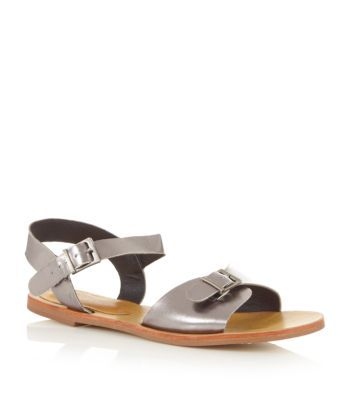 Silver Flat Buckled Sandals