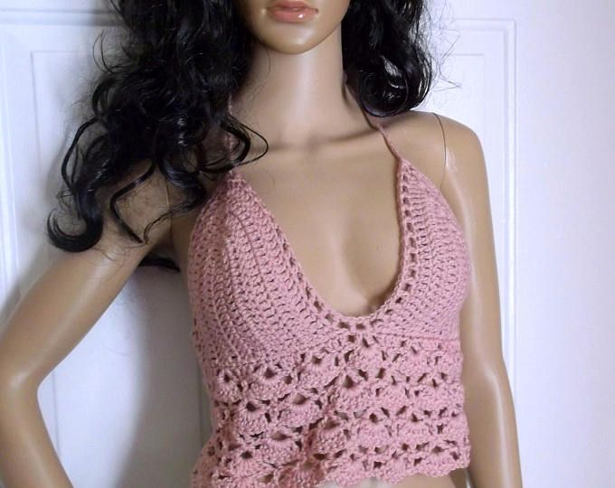 FESTIVAL TOP, Crochet Halter Top, Music Festival, Bikini Top, Hippie Chic, Bohemian, Summer Top, Shell Design Halter, in Dusky Rose