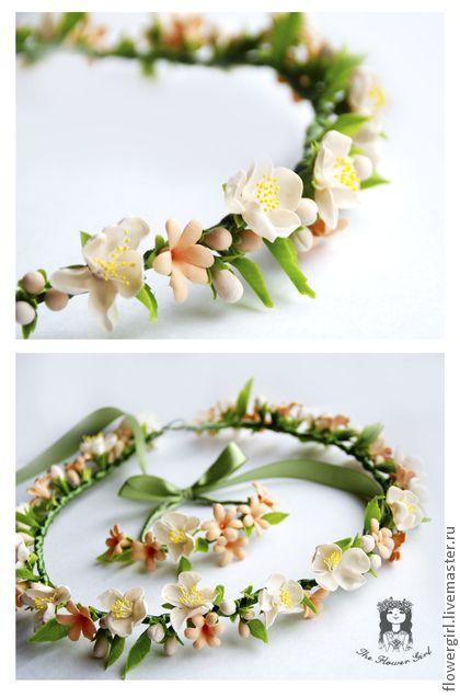 """Венок """"Sweet Flower"""" - бежевый,Персиковый цвет,венок,веночек,венок на голову"""