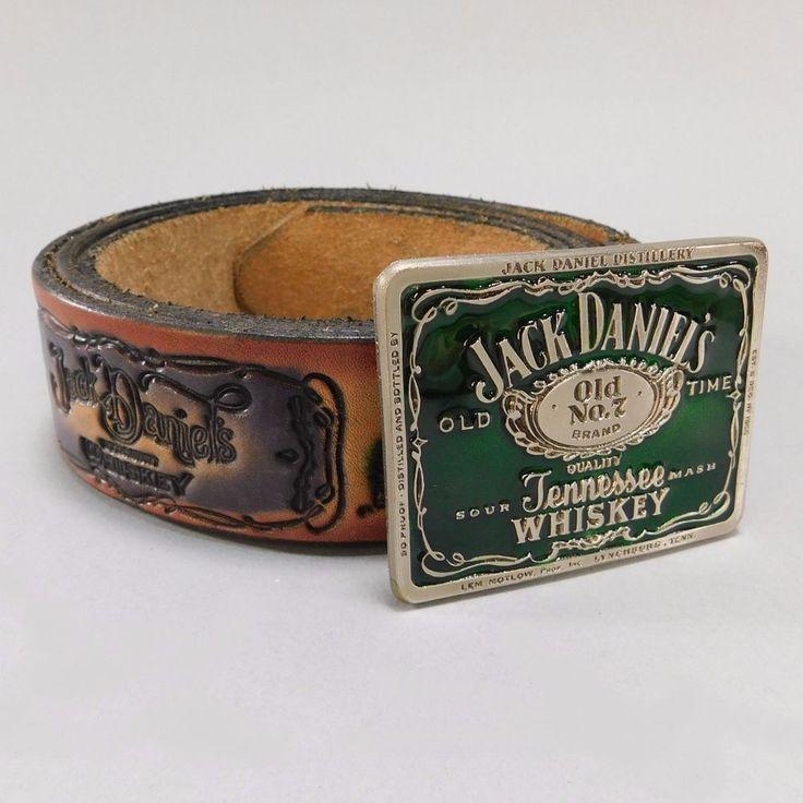 Vintage Jack Daniels Distillery Leather Belt and Green Enameled Buckle, No. 2157 #JackDaniels