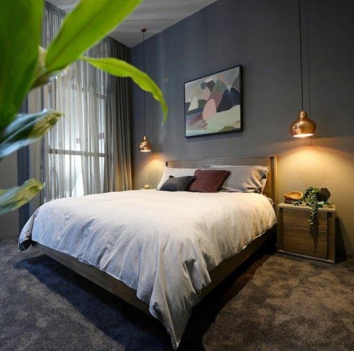 moquette gris, lit double, suite parentale avec linge de lit gris, mur gris, table de chevet