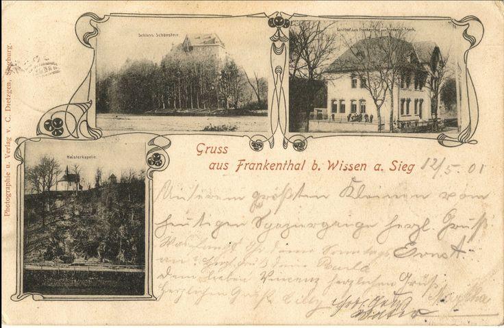 1901 - Gasthof zum Frankenthal - Inh. Friederich Frank, mit Teilansicht der Heisterkapelle und Bildstock - gel. 1901 - JMW