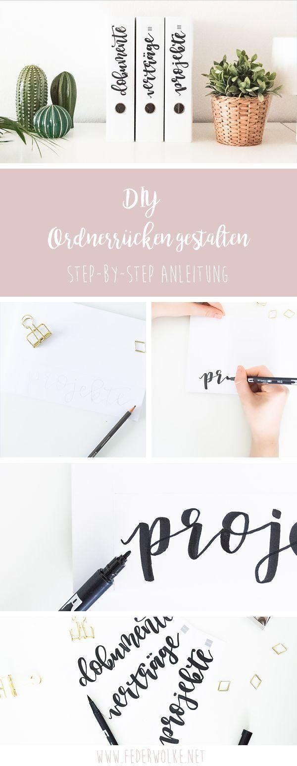 DIY-Idee: Gestalte deine Ordnerrücken mit einem Lettering selbst