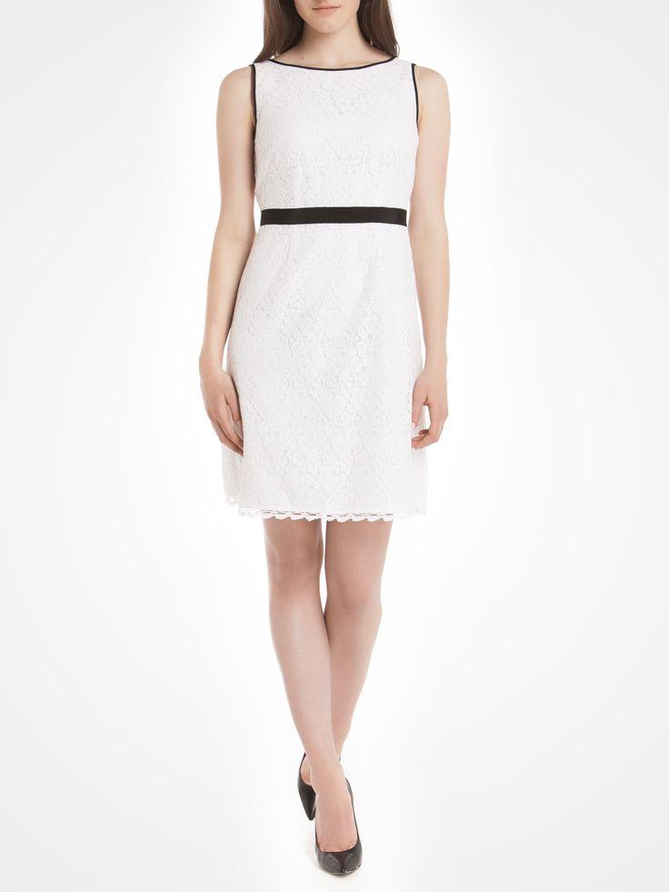 Lace dress with gros-grain trim - White Cocktail dresses