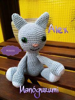 Manógurumi: Alex, a kis éjjel látó macsek - crochet amigurumi cat - crochet toy
