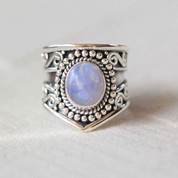 silver mens rings Boho Genuine Moonstone Silver Statement Ring