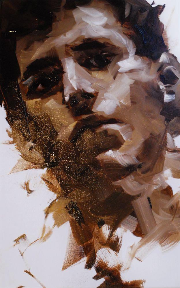 Loose oil sketch of a man's face, Dorus Brekelmans 2014