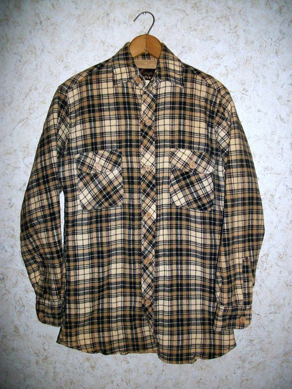 920529e93e8 80s Grunge Quilted Flannel Plaid Coat Shirt Navy Tan Thick Hipster Long  Sleeve 1980s Button Front Retro Vintage Unisex Mens Small
