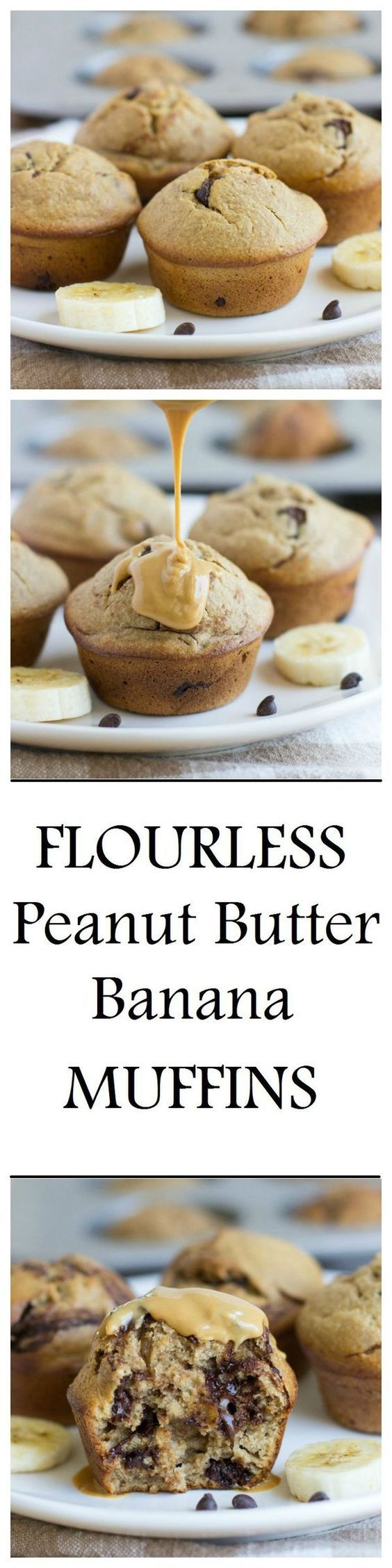 Flourless peanut butter banana muffins that are dairy-free gluten-free and refined sugar-free. One muffin has as much protein as an egg they're so moist and delicious you would never guess that they're healthy!