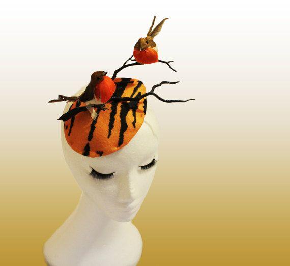Orange Robin Hat; Bird Hat; Zebra Hat; Ascot Hat; Wedding Fascinator; Birds Branches Hat; Couture Millinery;Derby Hat ; Melbourne Cup Hat