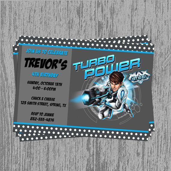 Max Steel 5x7 Custom Birthday Invitation by LastingMomentsDesign, $8.00