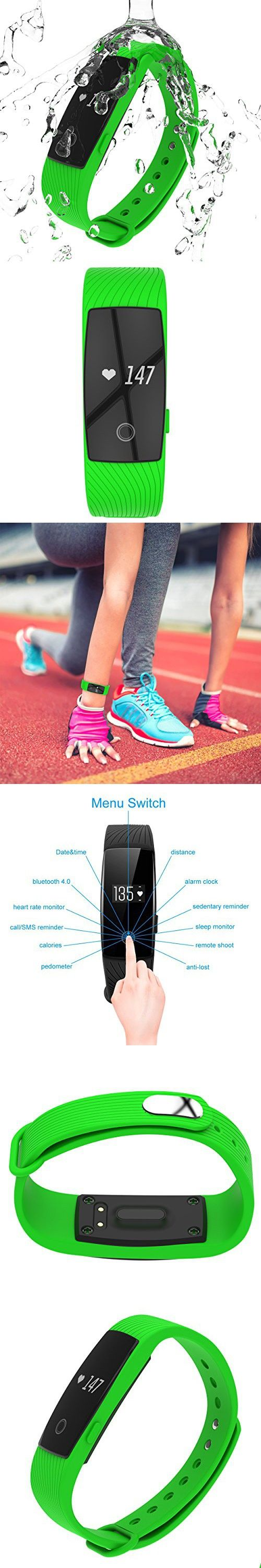 3STN Fitness Activity Tracker Bracelet with Heart Rate Monitor - Personal Armband with App, Bluetooth 4.0, Sleep Tracker, Waterproof, Pedometer, Reminder - iOS & Android - Women, Men, Kids (Green)
