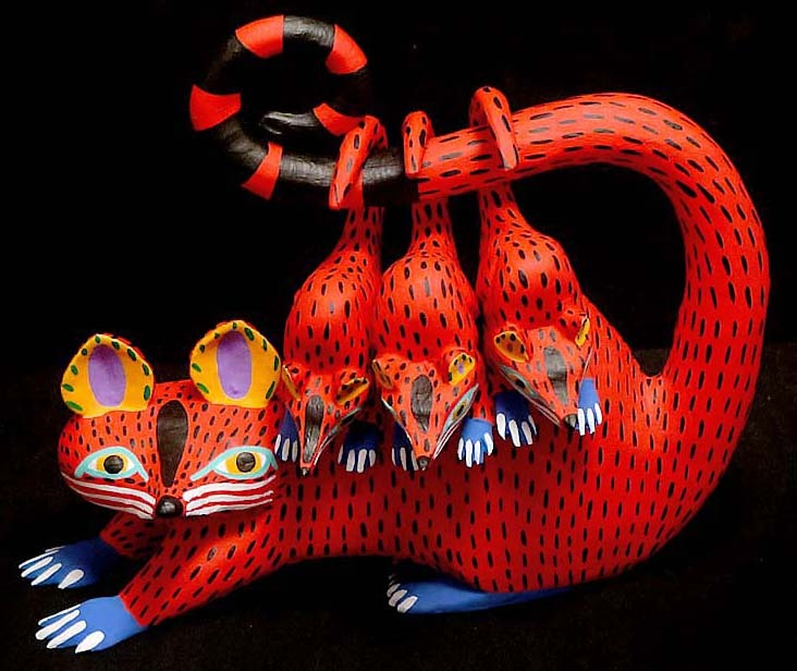 Armando and Antonia Jiménez, Arrazola Oaxacan Opossum Wood Carving Alebrijes