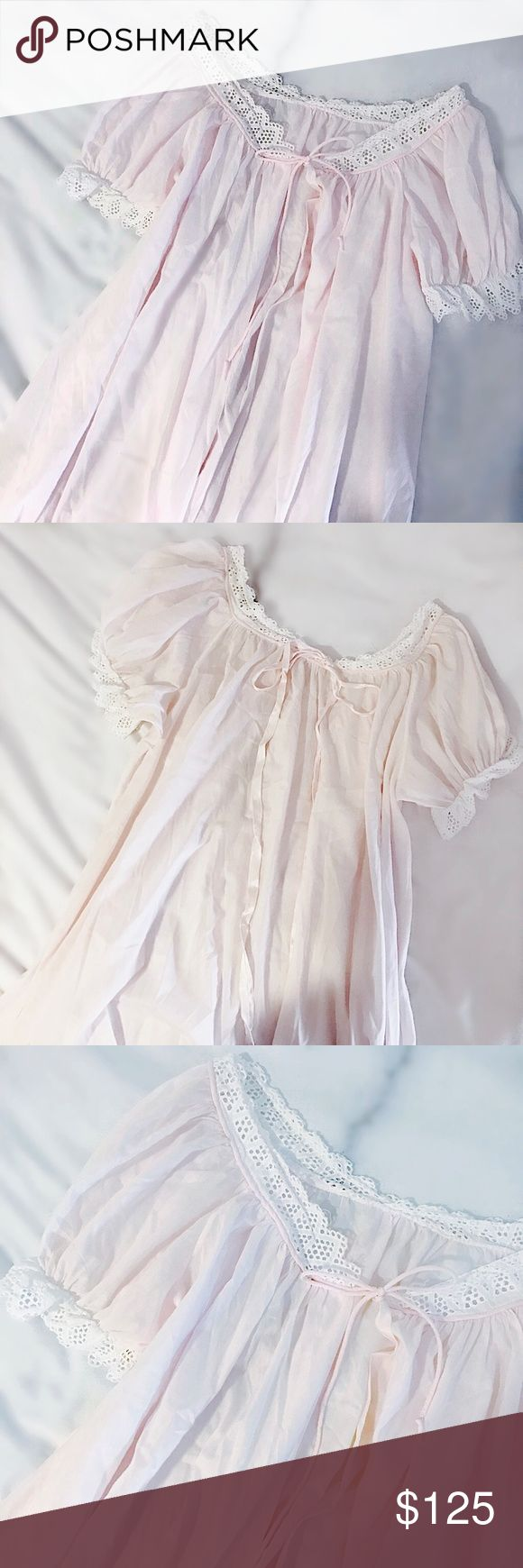 """""""Angel's Breath"""" Sweet Pink Silk Duster Soft, dusty pink vintage duster with antique scalloped lace trim and tiny bow detail to back. Tie front, pleated short sleeves, pleating down the front. Rendered in silk. Pair with an underwire bralette and some cool black slim pants, or layer over a vintage dress. A beautiful, versatile closet addition. Fits anyone size XS-M. 38""""L, 21"""" pit to pit. Retail value $280. -Olivia Cheng Curated Vintage- Vintage Jackets & Coats"""