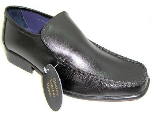 Boys Youth Black Leather Slip On Loafer School Shoes B743 Wedding 13 To 6 New