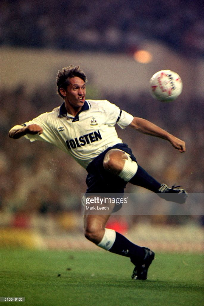 04 September 1991 - European Cup Winners Cup - Tottenham Hotspur v Sparkasse Stockerau - Gary Lineker of Tottenham prepares to shoot at goal.
