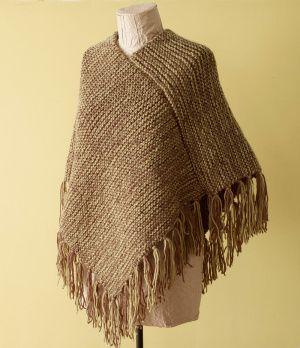 Loom Knit - Fringed Poncho done on Martha Stewart Loom - Intermediate project. From Lion Brand.