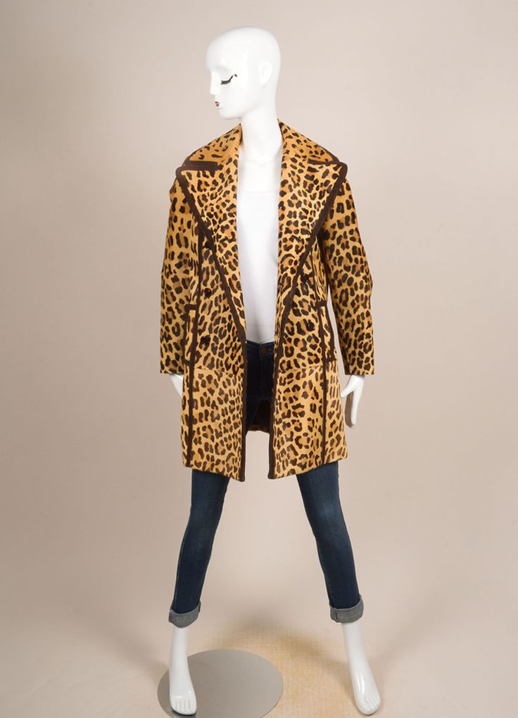 Tan and Brown Leopard Print Pony Hair Double Breasted Coat