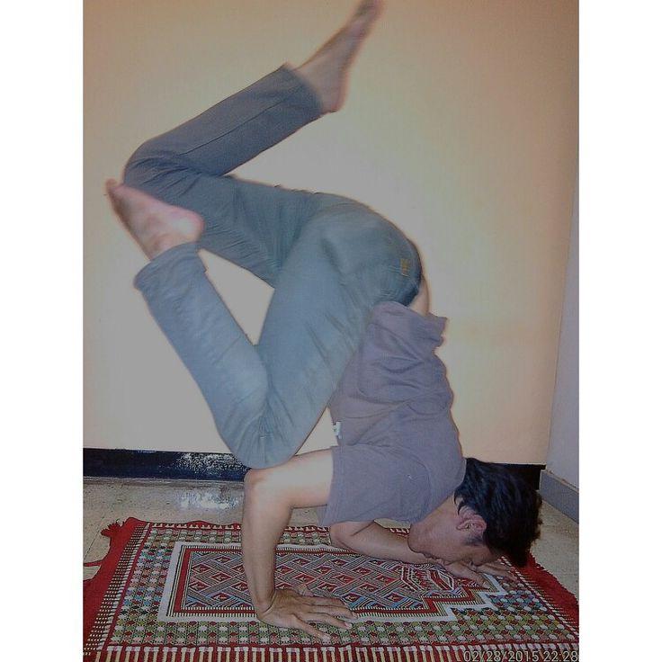 Funky one legged crow pose... #Namaste #YogaPractice #ArmBalance #ArmStrength #CoreStrength #Husband #Partner